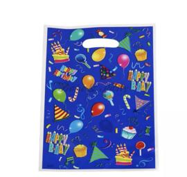 """Traktatie Zakjes """"Happy Birthday"""" Blauw"""