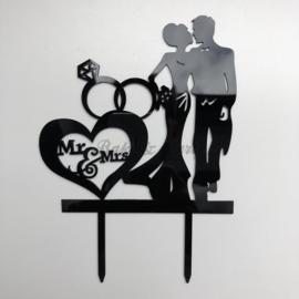 "Taart Topper Acryl ""Mr & Mrs"" (16)"