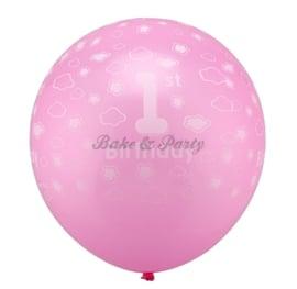"""Latex Ballonnen """"1st Birthday"""" Roze (20 stuks)"""