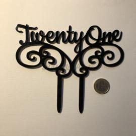 "Taart Topper ""TwentyOne"" Zwart Acryl"