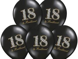 """Latex Ballonnen """"18 & Brilliant"""" Zwart/Zilver/Goud"""