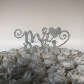 "Taart Topper ""Mr & Mrs"" (1) Zilver Carton (klein)"