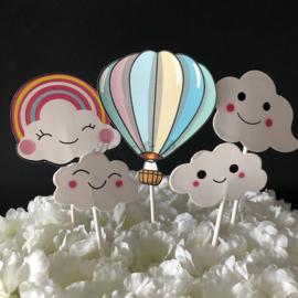 """Taart Toppers Carton """"Luchtballon"""" (5 stuks)"""