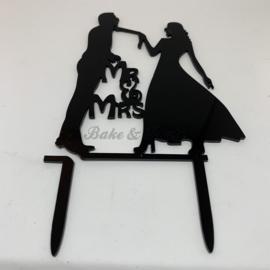 """Taart Topper """"Mr & Mrs"""" (7) Zwart Acryl"""