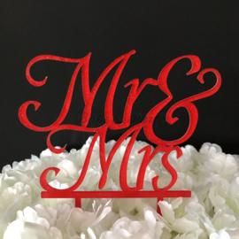 "Taart Topper Acryl ""Mr & Mrs"" (27)"
