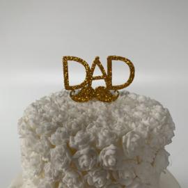 """Cupcake Topper """"Dad"""" Goud Glitter Foam"""