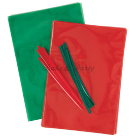 Wilton - Lollipop Bags Green/Red (50 stuks)