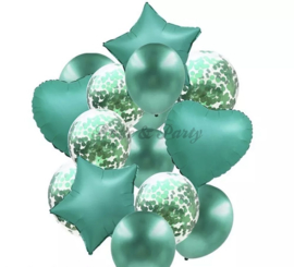 Folie & Latex Ballonnen Party Set Groen Confetti (14 stuks)