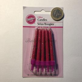"Kaarsjes Wilton ""Pink Glitter Candles"""
