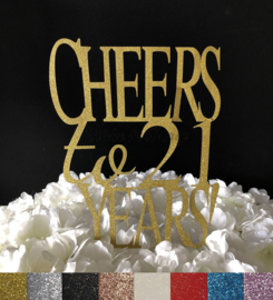 """Taart Topper Carton """"Cheers to 21 Years"""""""