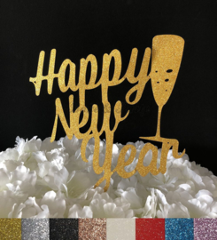 """Taart Topper Carton """"Happy New Year"""" (3)"""