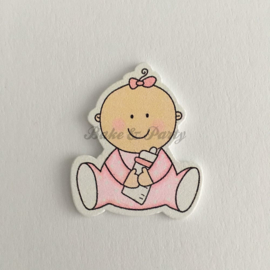 "Houten Decoratie Buttons ""Baby Girl"""