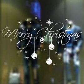 "Raam- / Muursticker ""Merry Christmas"" (3) Wit"