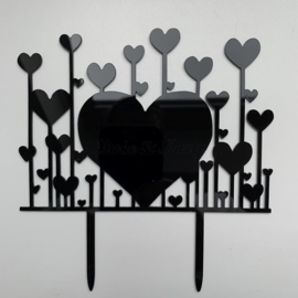 "Taart Topper Acryl ""Hearts"" (1)"