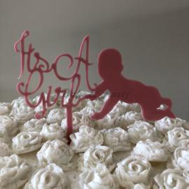 """Taart Topper """"It's a Girl"""" (5) Roze Acryl"""