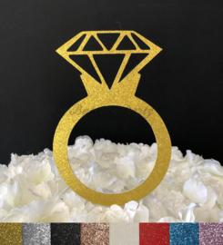"""Taart Topper Carton """"Ring met Diamant"""""""