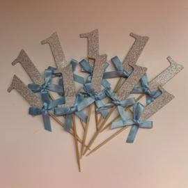 """Cupcake Toppers """"1"""" Zilver/Blauw (10 stuks)"""