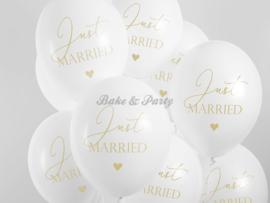 "Latex Ballonnen ""Just Married"" Wit/Goud"