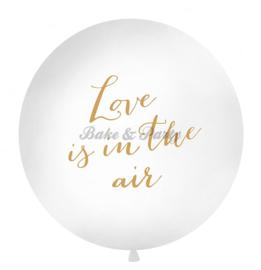 "Reuzen Ballon ""Love Is In The Air"" Wit/Goud"