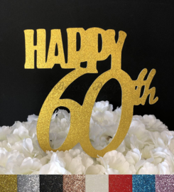 "Taart Topper Carton ""Happy 60th"""