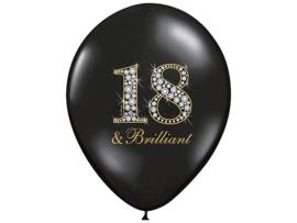 """Latex Ballonnen """"18 & Brilliant"""" Zwart/Zilver/Goud (10 stuks)"""