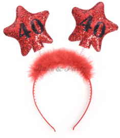 "Tiara ""40"" Rood/Zwart Glitter"