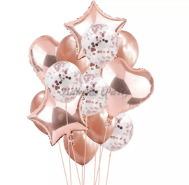 Folie & Latex Ballonnen Party Set Rosé Goud Confetti (1) (14 stuks)