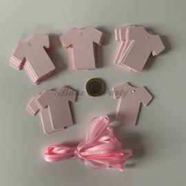 """Babyshower Tags """"Hemdje Roze"""" (25 stuks)"""