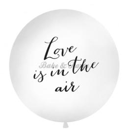 "Reuzen Ballon ""Love Is In The Air"" Wit/Zwart"