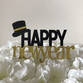"""Taart Topper Carton """"Happy New Year"""" (4)"""