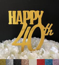 "Taart Topper Carton ""Happy 40th"""