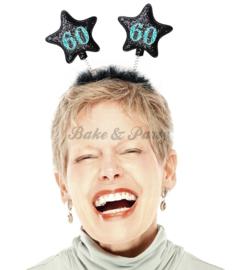 "Tiara ""60"" Zwart/Blauw Glitter"