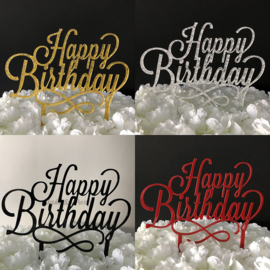 "Taart Topper Acryl ""Happy Birthday"" (3)"