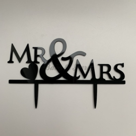 "Taart Topper Acryl ""Mr & Mrs"" (1)"