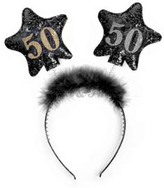 "Tiara ""50"" Zwart/Goud/Zilver Glitter"