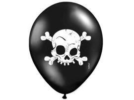 "Latex Ballonnen ""Skull"" Zwart/Wit"