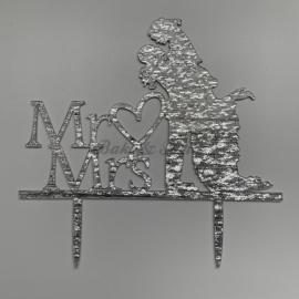 "Taart Topper Acryl ""Mr & Mrs"" (2)"