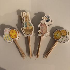 """Cupcake Toppers """"Pasen"""" (24 stuks)"""