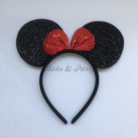 "Diadeem ""Minnie Mouse"" (Zwart/Rood Glitter)"