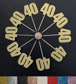 """Cupcake Toppers """"40"""" (10 stuks)"""