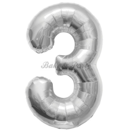 "Jumbo Folie Ballon ""3"" Zilver"