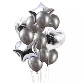 Folie & Latex Ballonnen Party Set Zilver (14 stuks)