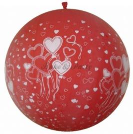 """Reuzen Ballon """"Hearts"""" Rood Pastel"""