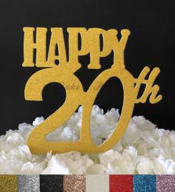 "Taart Topper Carton ""Happy 20th"""