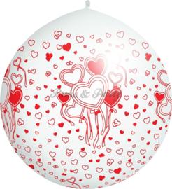 "Reuzen Ballon ""Hearts"" Wit Pastel"
