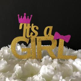 "Taart Topper Carton ""It's a Girl"" (5)"