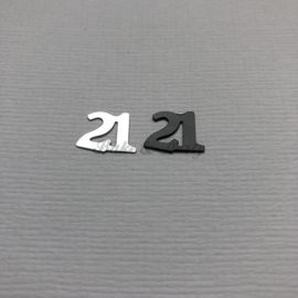 """Decoratie Confetti """"21"""" Zwart/Zilver"""