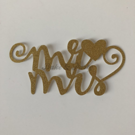 "Taart Topper ""Mr & Mrs"" (1) Goud Carton (klein)"