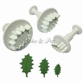 Plunger - PME  Veined Holly Leaf Set (3 stuks)