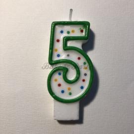 "Kaarsje Wilton - Numeral Candle - ""5"" Green"